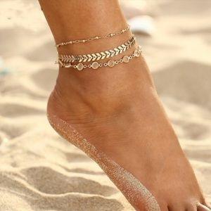 Crystal & Herringbone 2 Layer Ankle Bracelet